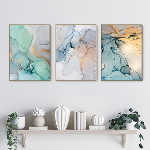Modern hall entrance with oil painting canvas