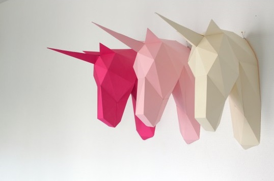 Paper trophies for wall decoration