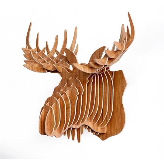 Les trophées tête d'animaux en bois