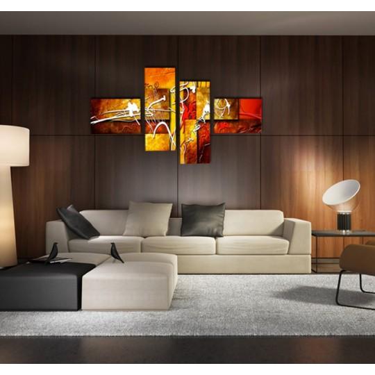 Tableau peinture orange sur toile