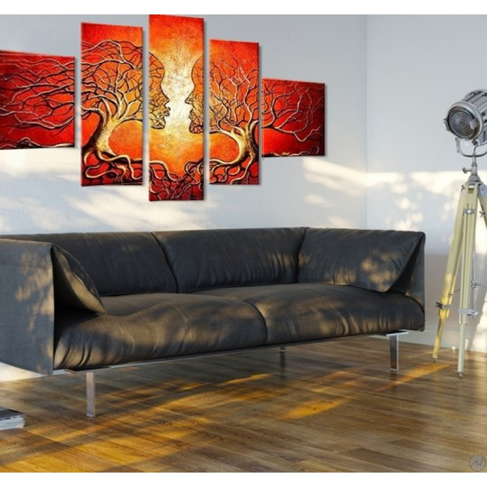 Red oil painting canvas