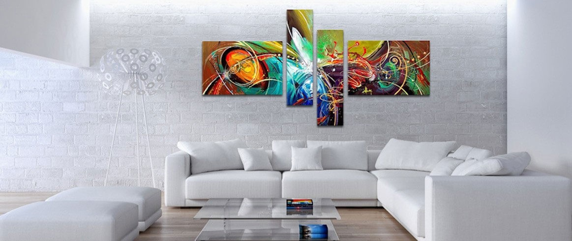 Design oil painting on canvas for an explosion of colors for a trendy wall decoration
